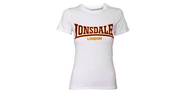 426f8471a51c Dámske biele tričko Lonsdale so semišovou potlačou