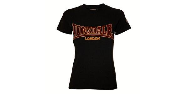 13f07a80d9d7 Dámske čierne tričko Lonsdale so semišovou potlačou