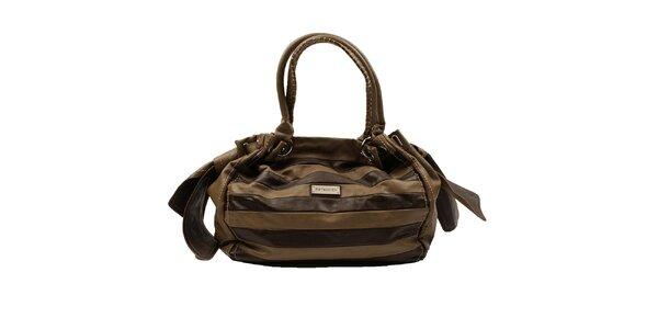Dámska hnedo-okrová pruhovaná kabelka Pierre Cardin