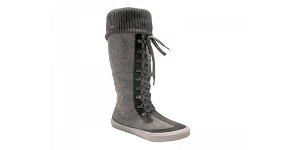 Dámske šedo-čierne šnurovacie zimné topánky Red Hot