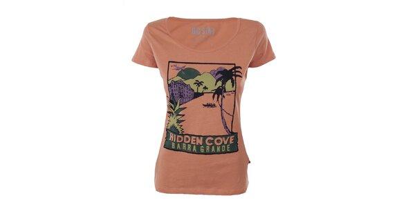 Dámske oranžové tričko s farebnou potlačou Big Star