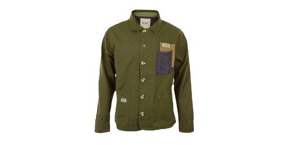 Pánsky tmavý khaki kabát Big Star