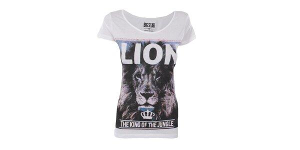 Dámske biele tričko s potlačou lva Big Star