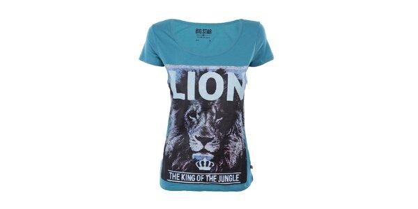 Dámske tyrkysové tričko s potlačou lva Big Star
