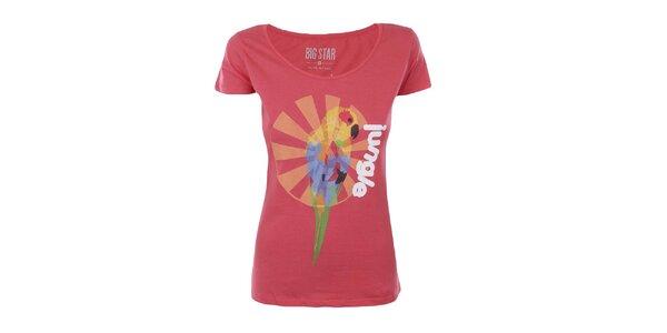 Dámske tričko s potlačou papagája Big Star