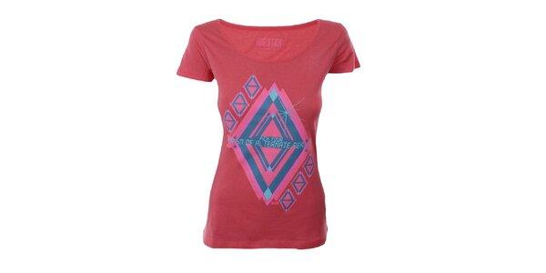 Dámske červené tričko s potlačou Big Star