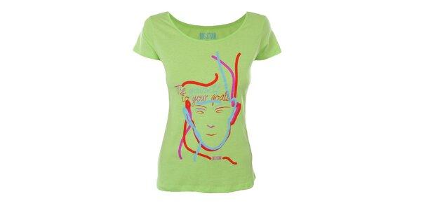 Dámske žiarivo zelené tričko s potlačou Big Star