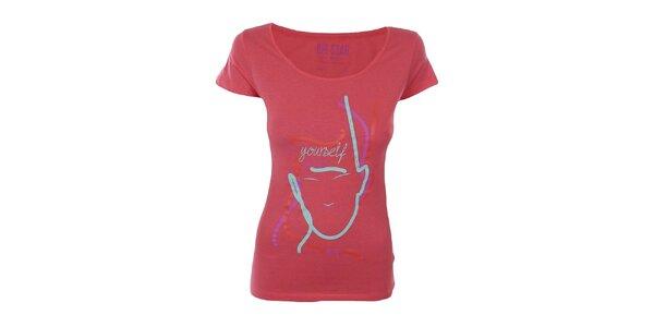 Dámske ružovočervené tričko s farebnou potlačou Big Star