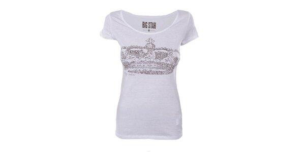 Dámske biele tričko s potlačou koruny Big Star