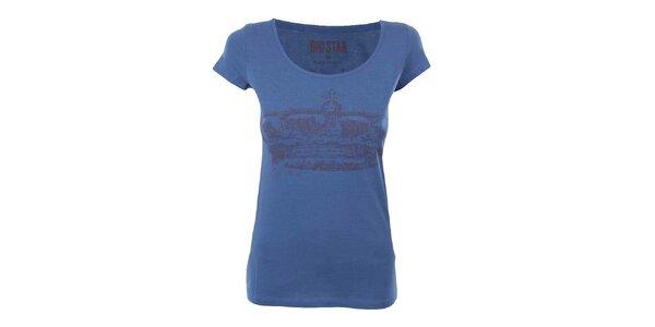 Dámske modré tričko s potlačou koruny Big Star