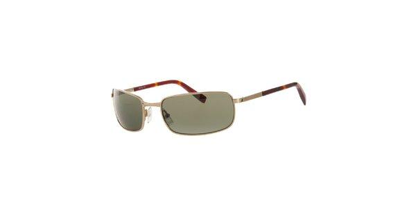 Dámske zlaté hranaté slnečné okuliare Michael Kors