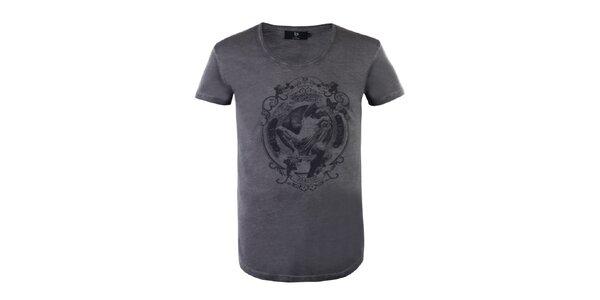 """Pánske antracitové tričko Ron Abraham s čiernou potlačou """"Paresso"""""""
