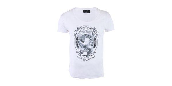 """Pánske biele tričko Ron Abraham s čiernou potlačou """"Orgueil"""""""
