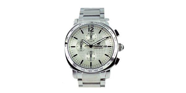 Pánske strieborné hodinky s chronografom Beverly Hills Polo Club