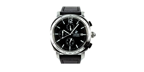 Pánske hodinky s chronografom a čiernym remienkom Beverly Hills Polo Club