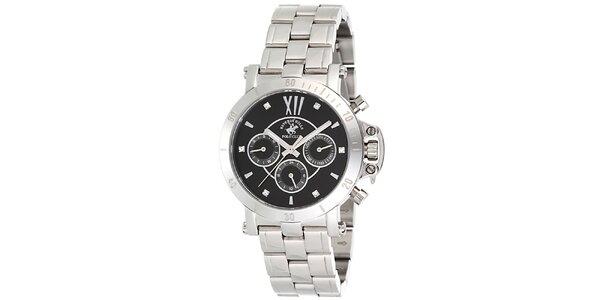 Dámske strieborné hodinky s tmavým ciferníkom Beverly Hills Polo Club