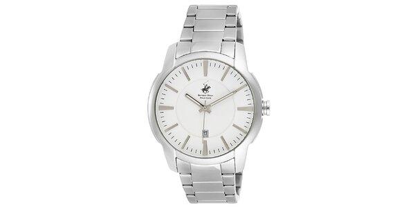 Pánske strieborné guľaté hodinky Beverly Hills Polo Club