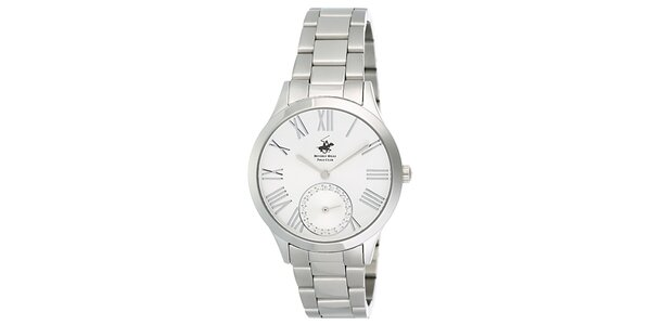 Dámske strieborné hodinky s malou sekundovkou Beverly Hills Polo Club