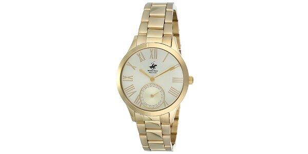 Dámske zlaté hodinky s malou sekundovkou Beverly Hills Polo Club
