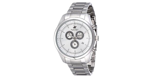 Pánske strieborné ocelové hodinky Beverly Hills Polo Club