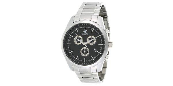 Pánske strieborné ocelové hodinky s čiernym ciferníkom Beverly Hills Polo Club