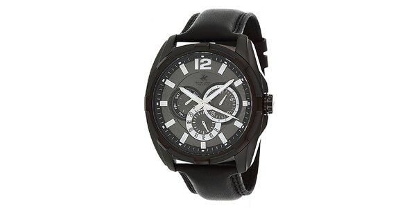 Pánske čierne hodinky s originálnym ciferníkom Beverly Hills Polo Club