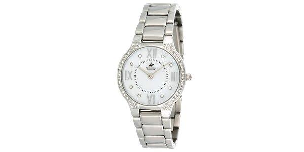 Dámske strieborné hodinky s kryštálikmi Beverly Hills Polo Club