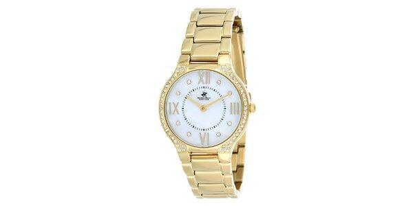 Dámske zlaté hodinky s kryštálikmi Beverly Hills Polo Club