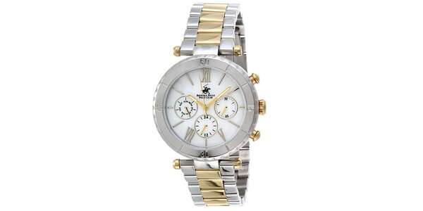 Dámske strieborno-zlaté hodinky Beverly Hills Polo Club