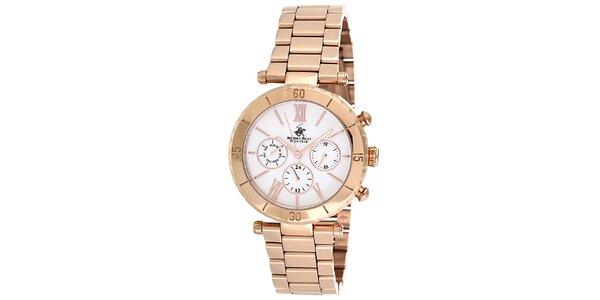 Dámske ružovo-zlaté hodinky Beverly Hills Polo Club