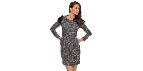 Dámske šaty s krémovo-čiernym vzorom TopShop