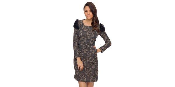 Dámske šaty s béžovo-čiernym vzorom TopShop