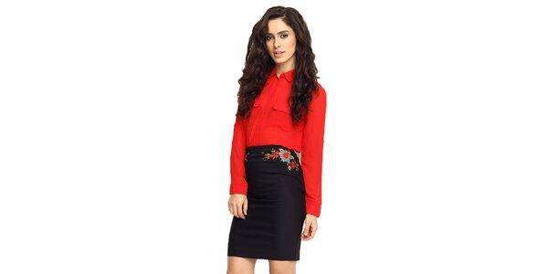 Dámska čierna sukňa s výšivkou TopShop
