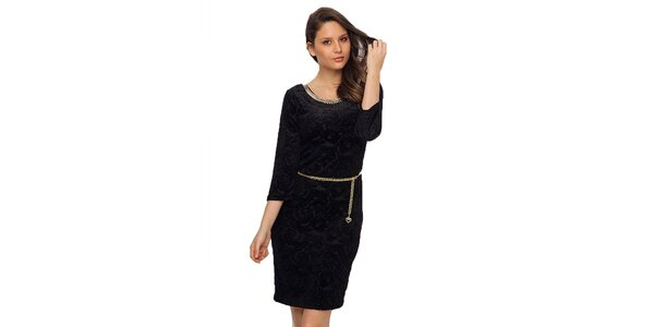Dámske čierne šaty s retiazkou TopShop