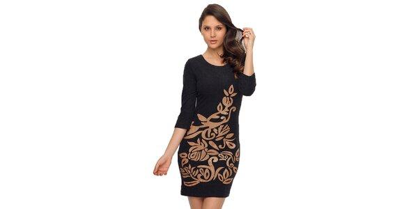 Dámske čierne šaty s lesklou potlačou TopShop