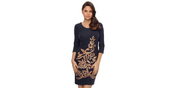 Dámske tmavo modré šaty s lesklou potlačou TopShop