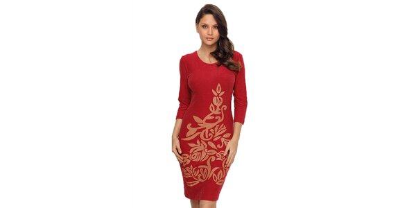 Dámske červené šaty s lesklou potlačou TopShop