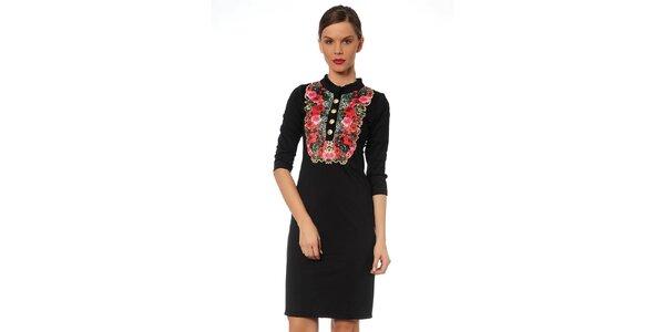 Dámske čierne šaty s kvetinovou ozdobou TopShop