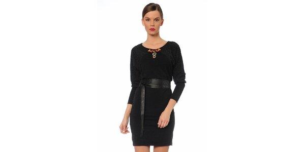 Dámske čierne šaty s opaskom TopShop