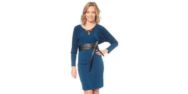 Dámske modré šaty s opaskom TopShop