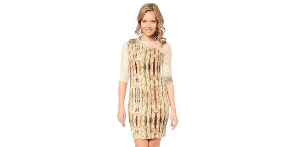 Dámske svetlo béžové šaty so vzorom a transparentnou časťou TopShop