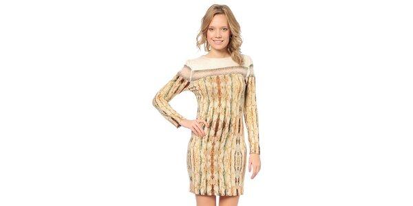 Dámske svetlo béžové šaty so vzorom TopShop