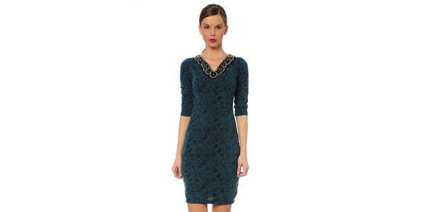 Dámske zelenotyrkysové šaty s ozdobným výstrihom TopShop