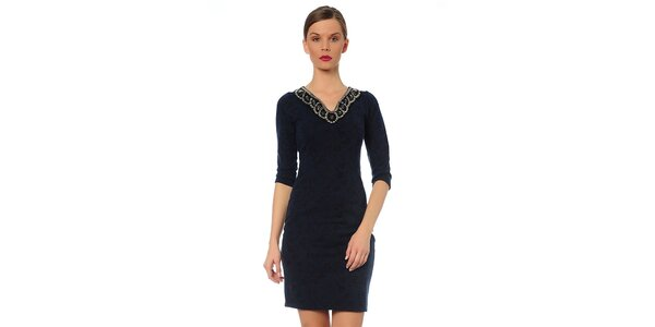 Dámske tmavo modré šaty s ozdobným výstrihom TopShop
