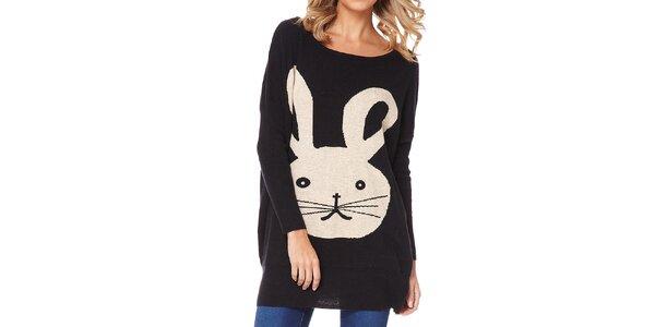 Dámsky čierny sveter so zajačikom Miss Jolie