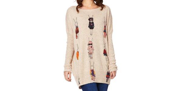 Dámsky béžový sveter so zajačikmi Miss Jolie