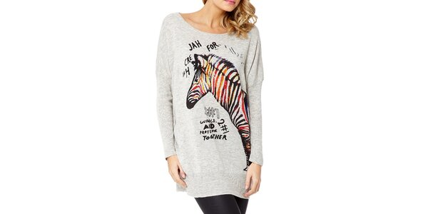 Dámsky šedý sveter so zebrou Miss Jolie