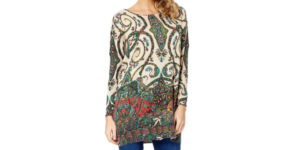 Dámsky sveter s farebným paisley vzorom Miss Jolie