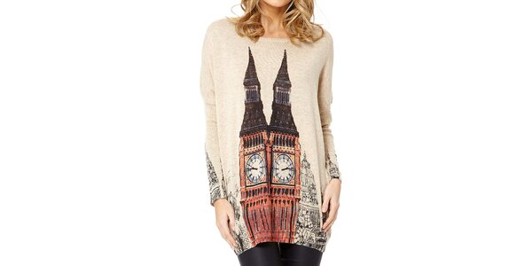 Dámsky béžový sveter s Big Benom Miss Jolie
