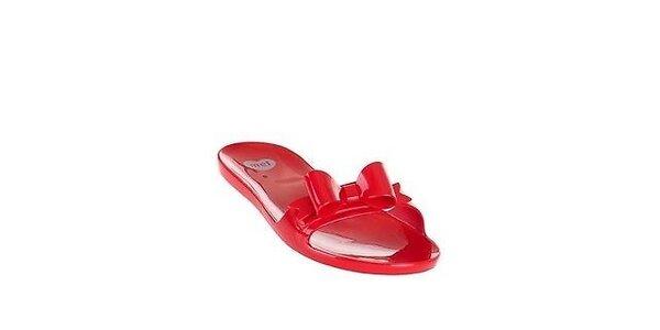 Dámske červené šľapky Mel s mašľou